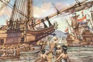 Lukisan tentang suasana di pelabuhan Banten pada tahun 1600-an sumberfoto:ramaloka.com