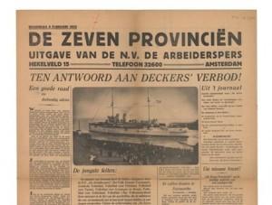 Sebuah koran Belanda yang memberitakan terjadinya pemberontakan di kapal perang Zeven Provincien (dokpribadi)